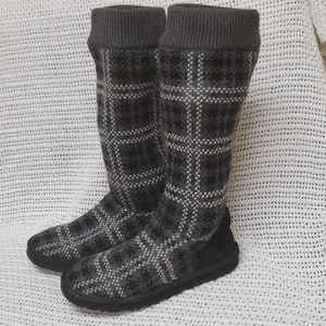 Ugg Boots Knit Plaid Cardi